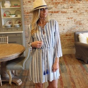 NWT Striped Tassel Tie Dress